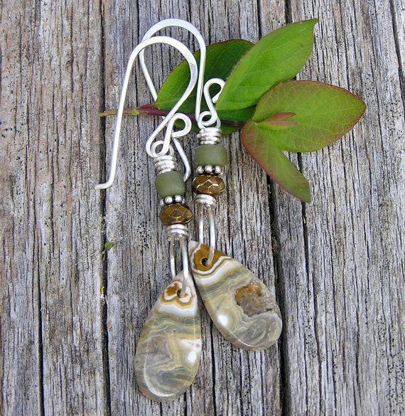 ocean jasper gemstone, czech glass, indonesian glass and sterling silver dangle earrings. earthy green and bronze colors. bohemian. OOAK.