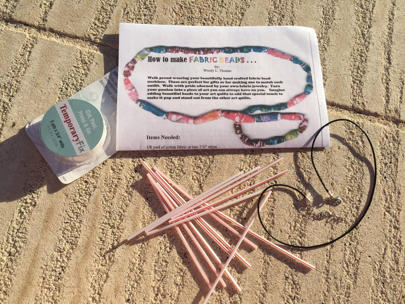 Kids art project, Summer fun project, Summer activity Fabric Beads pattern & kit Make your own light weight jewelry. Fabric beads  necklaces