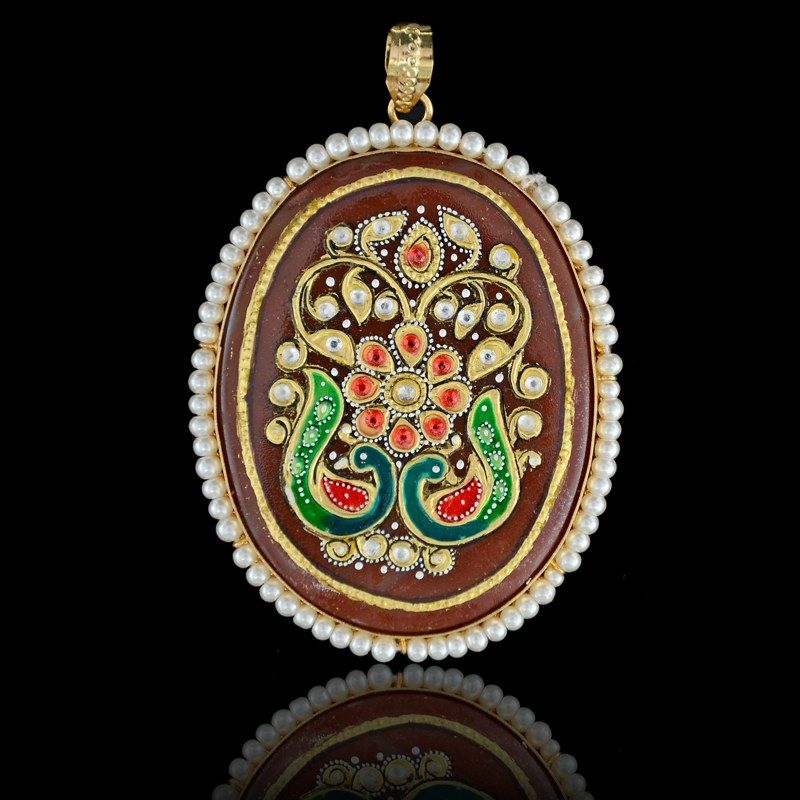 Two peacock tanjore pendant online shopping accessories two peacock tanjore pendant online shopping mozeypictures Choice Image
