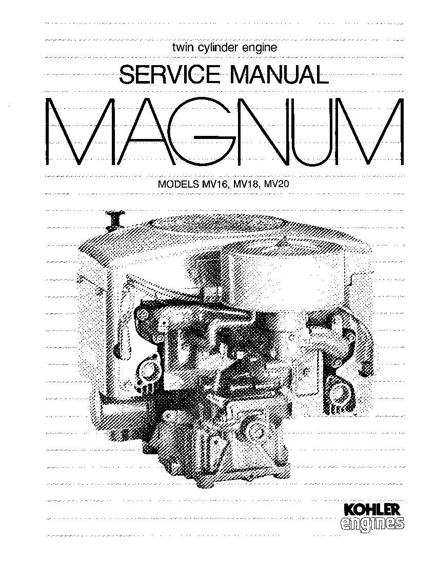 Kohler MV16 MV18 MV20 Engines Workshop Repair Service