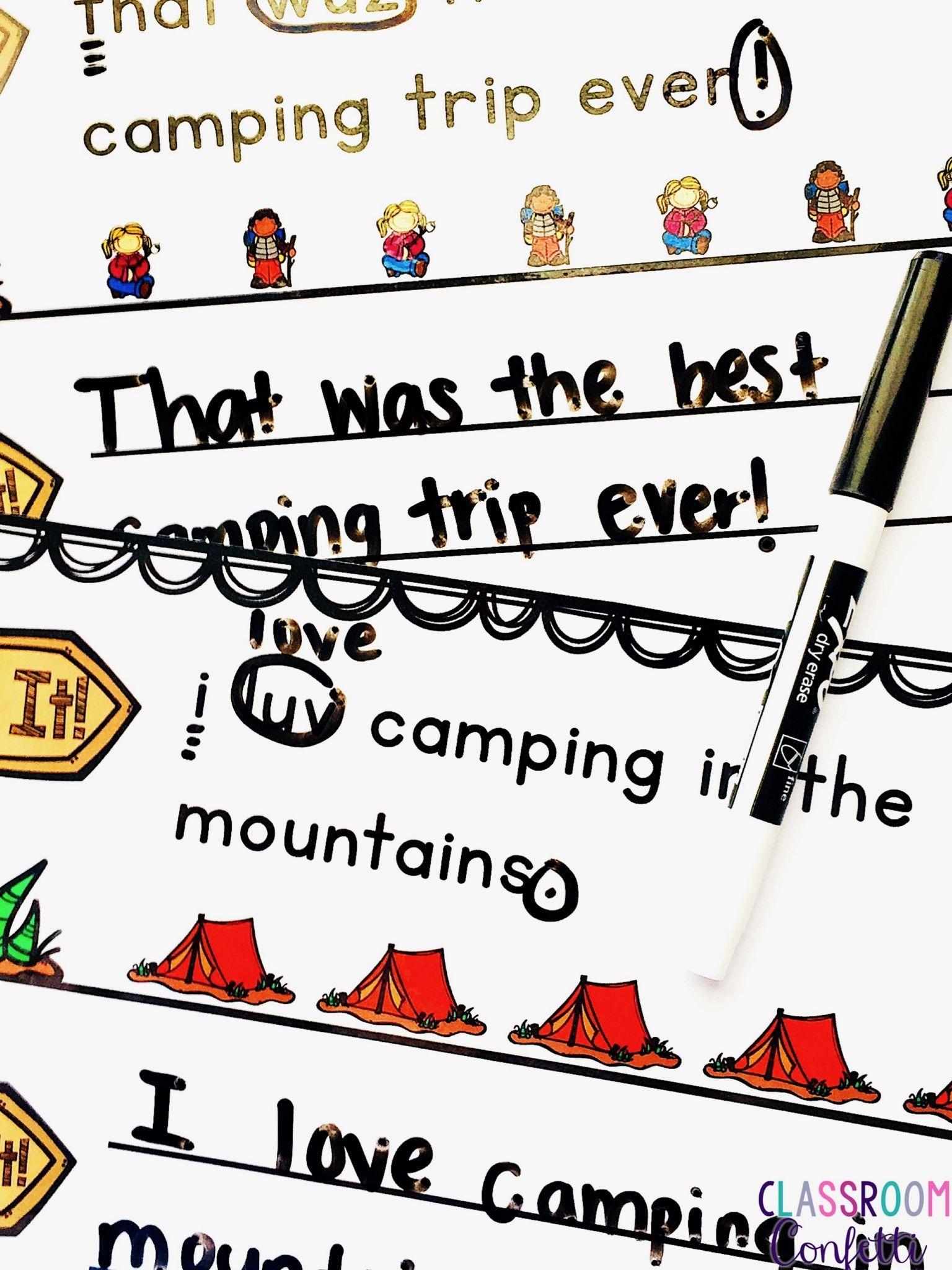 Fix It Sentences Camping
