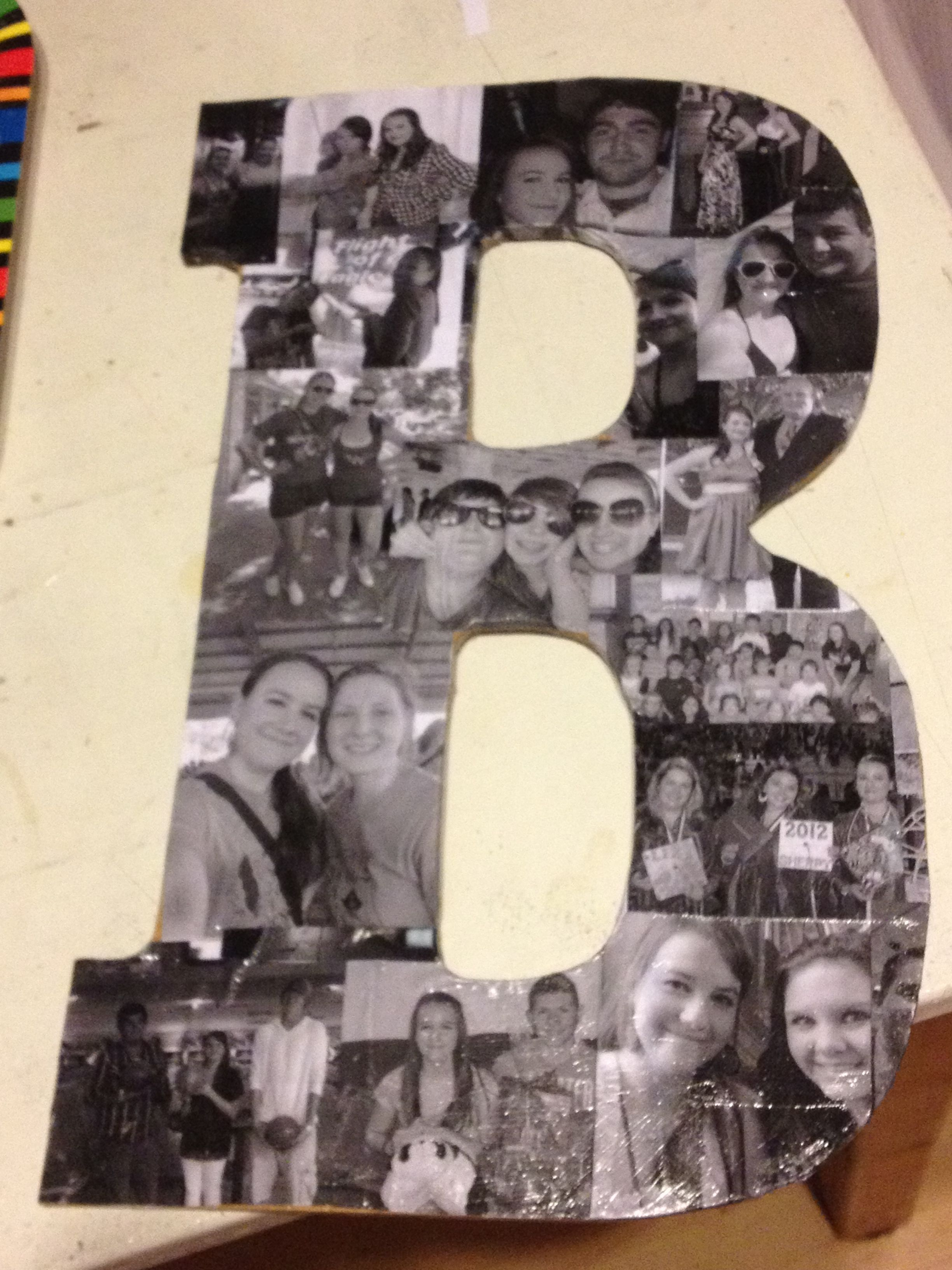 mod podge pictures on wood letters take a large cardboard or wooden letter black and white 23676 | bc961e0b22a90c272231d4c66fe79796