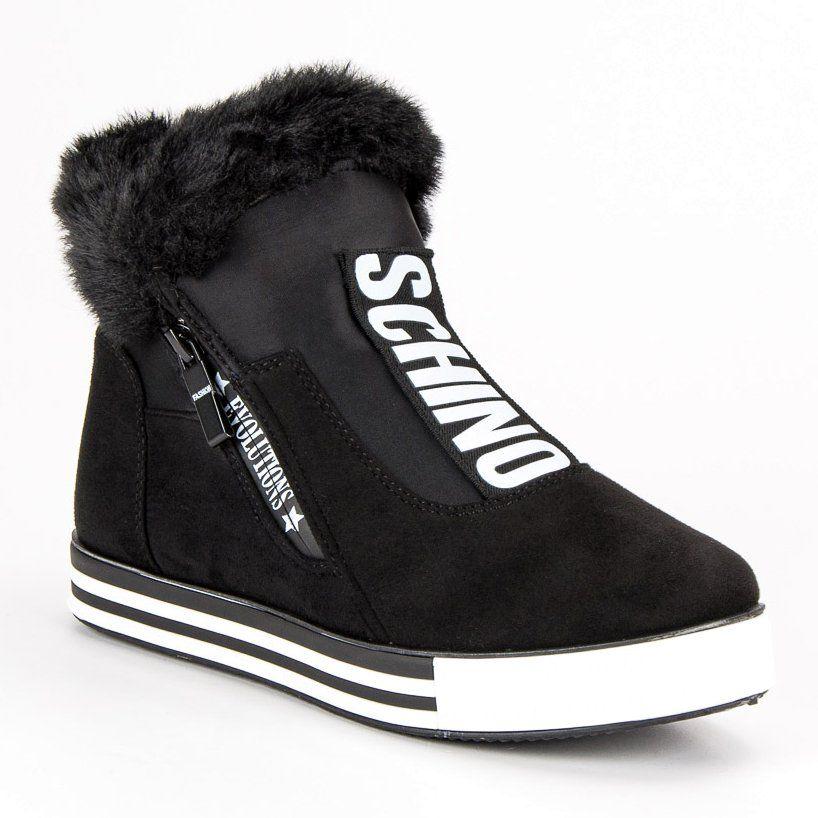 Sportowe Botki Na Koturnie Czarne Boots Shoes Winter Boot