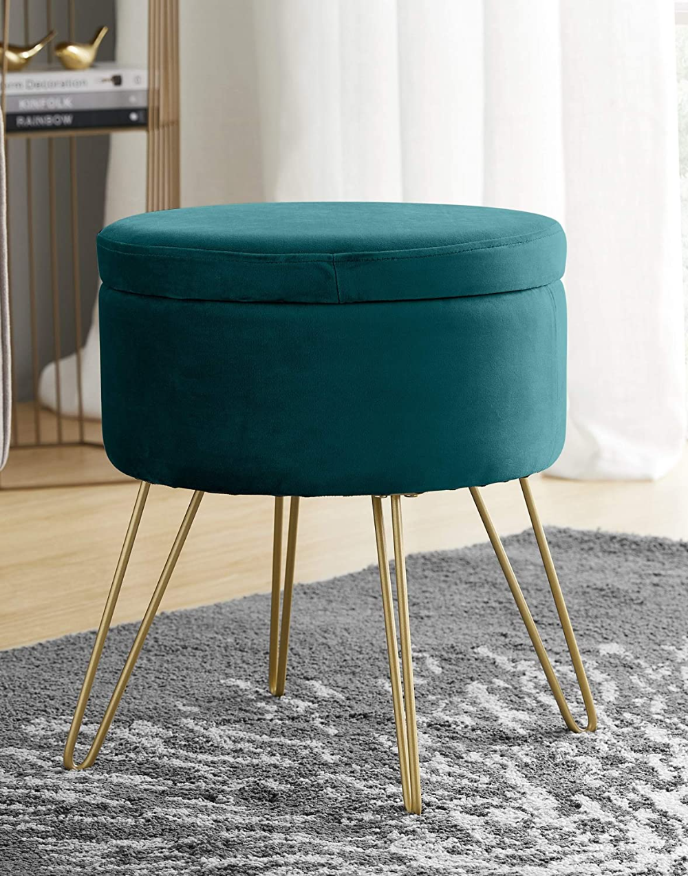 Amazonsmile Ornavo Home Modern Round Velvet Storage Ottoman Foot Rest Stool Seat With Gold Metal Legs Tray Top Coffee Storage Ottoman Modern Round Foot Rest [ 1273 x 1000 Pixel ]