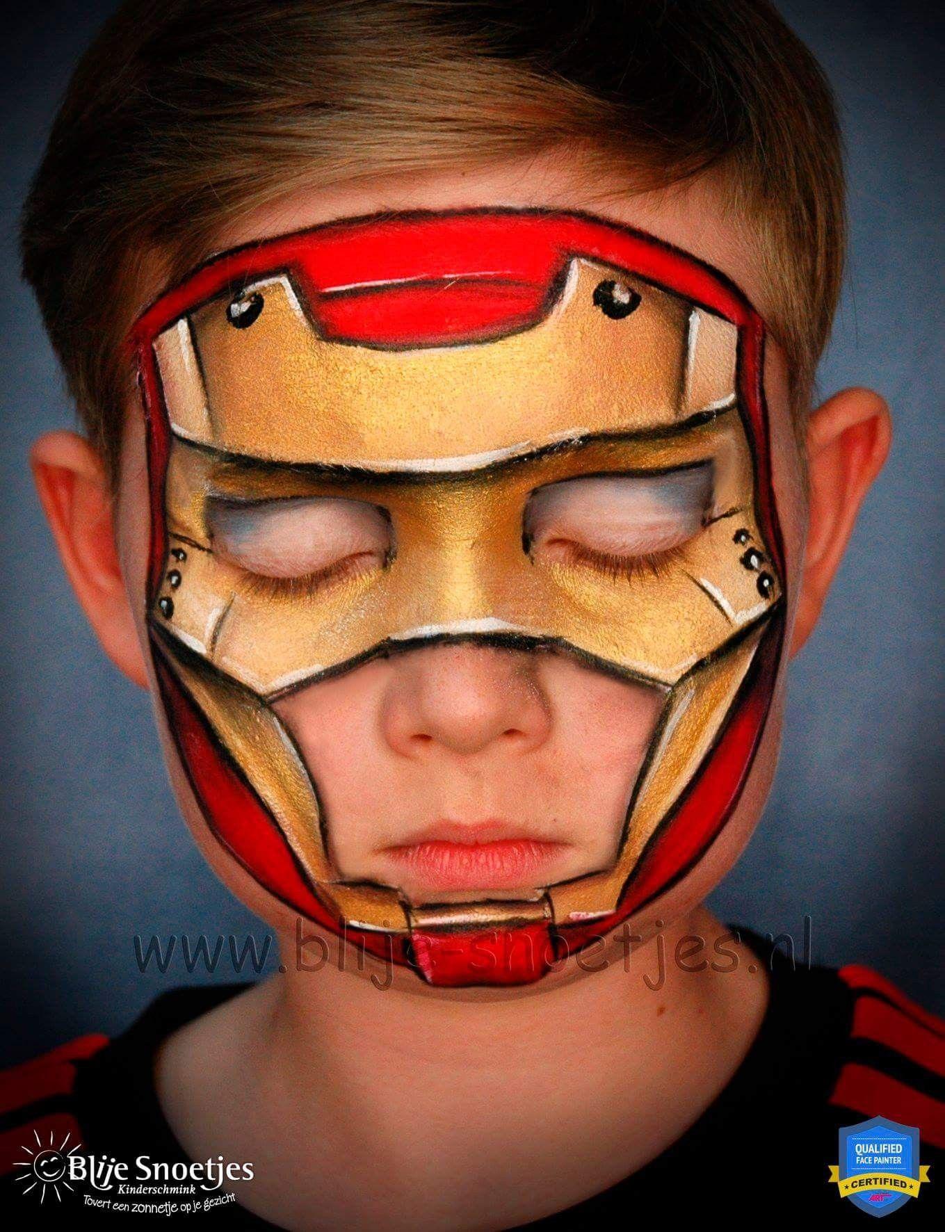 Disfraz Iron Maquillaje De Superheroes Maquillaje De Fantasia Infantil Disenos De Pintura De La Cara