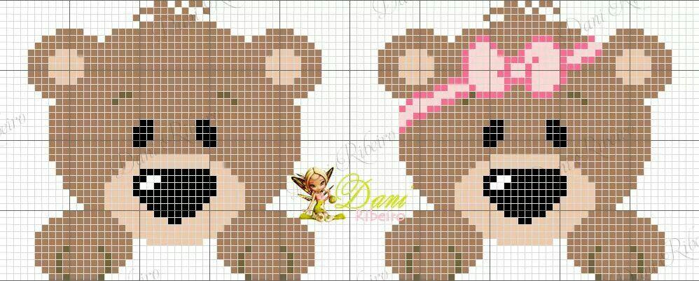 Ursinhos | Cross Stitch Patterns | Pinterest | Babylätzchen ...