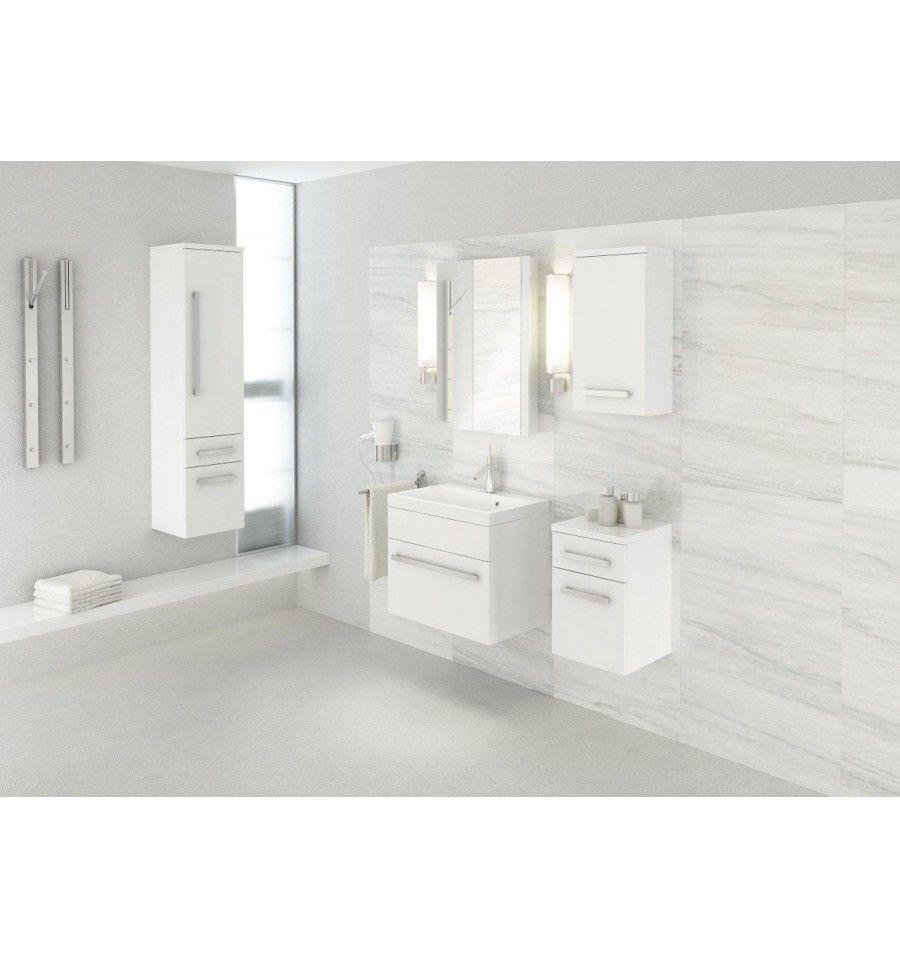 Ensemble de salle de bain OLEX blanc 80cm Meuble Salle de bain une