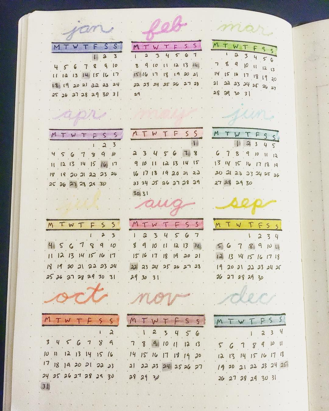 Finally Got Around To Making A Yearly Calendar Layout In My Bullet