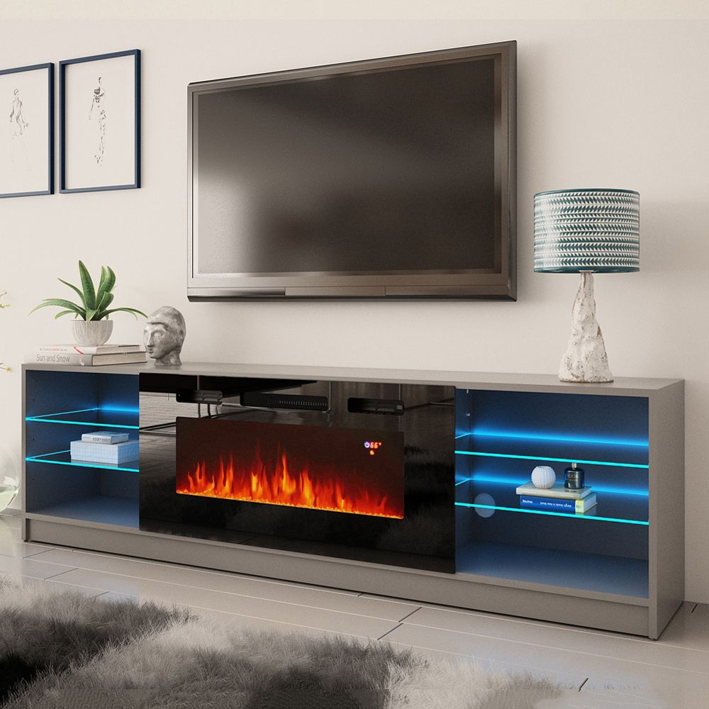Boston 01 Gray TV Stand in 2020 Modern fireplace, White