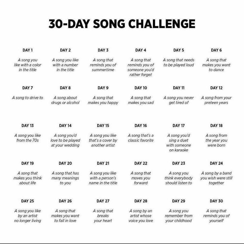 30 Day Song Challenge Sfida Dei 30 Giorni Citazioni Musicali