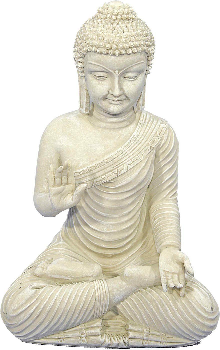 In entspannter Pose sitzt diese Buddha Figur auf Ihrer Fensterbank. Tun Sie es ihm gleich: Gönnen auch Sie sich täglich für einige Minuten absolute Ruhe und Entspannung. Diese Buddha Statue eignet sich nicht nur als Deko für's Yoga Studio sondern auch für Ihre Wellness-Oase daheim! Sie können den Buddha sowohl im Innen- als auch im Außenbereich platzieren, da er sich durch Wetter- und Frostbest...