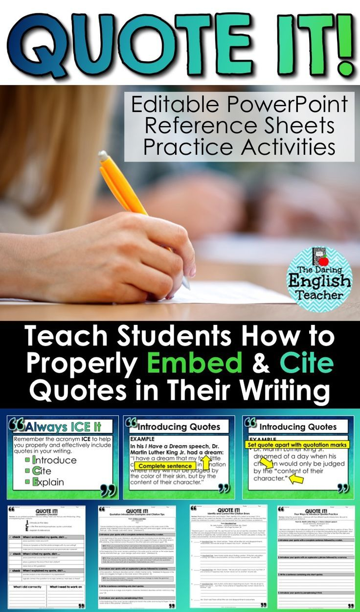 embedding quotations a common core lesson about writing teach middle school and high school english students how to properly embed and cite quotations in · teach writingessay