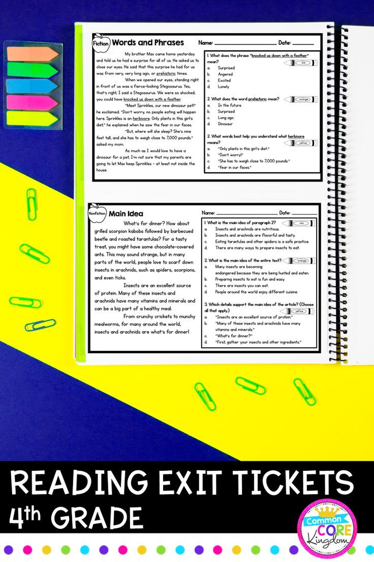 4th Grade Reading Exit Tickets (With images) Reading