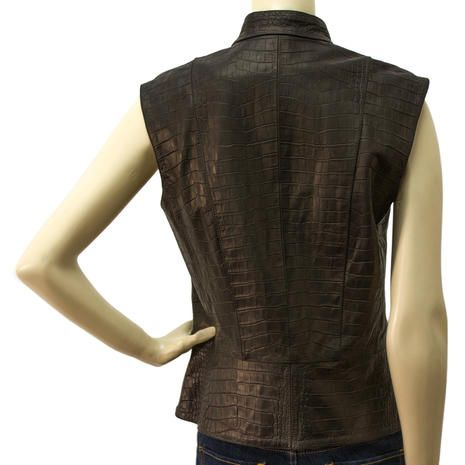 Auth NWOT Jo Peters 100% Leather women's Black Gillet Croco embossed top sz S