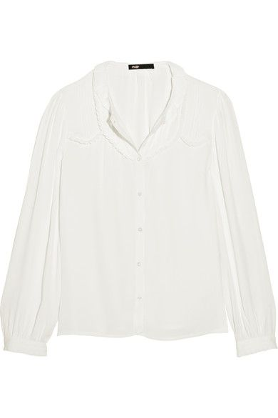 Pay With Paypal Maje Woman Ruffled Point Desprit-paneled Silk-chiffon Top White Size 1 Maje Free Shipping Manchester Great Sale Outlet Pictures 2018 Newest Online Clearance Store For Sale KQQbUgbq8