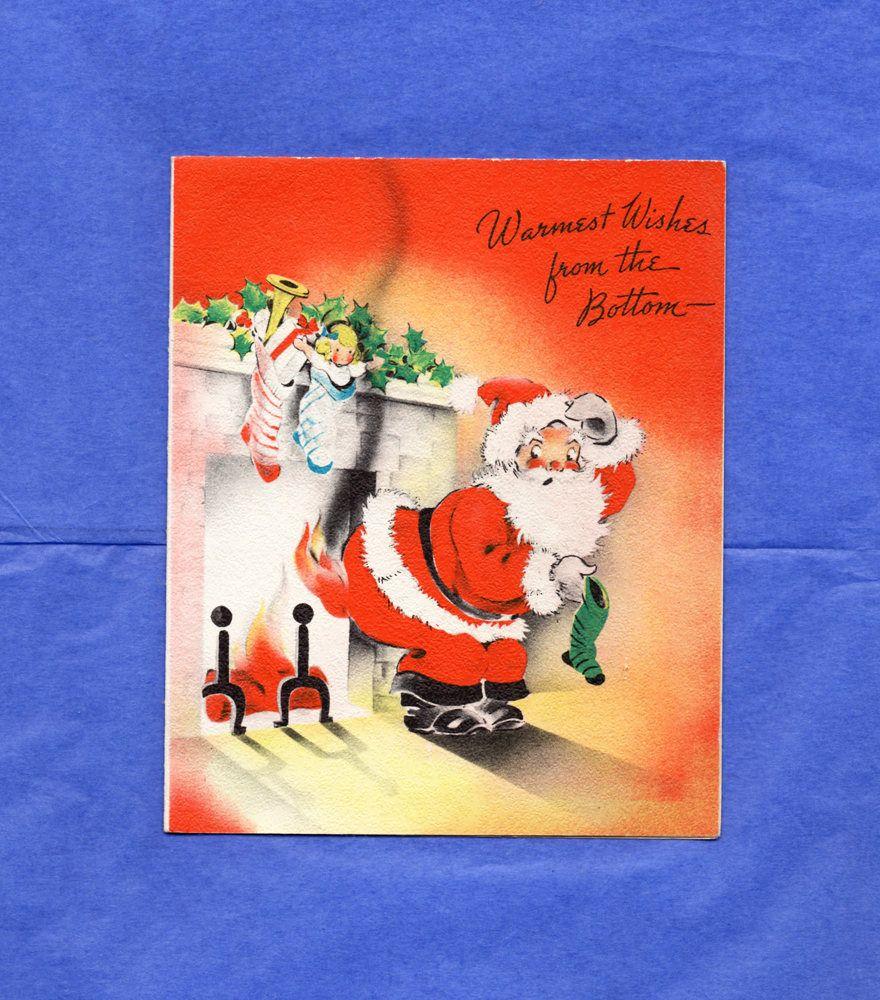 Bon $12   1940s Vintage CHRISTMAS CARD Santa USA, Vintage Christmas Greeting  Card, Santa Fireplace