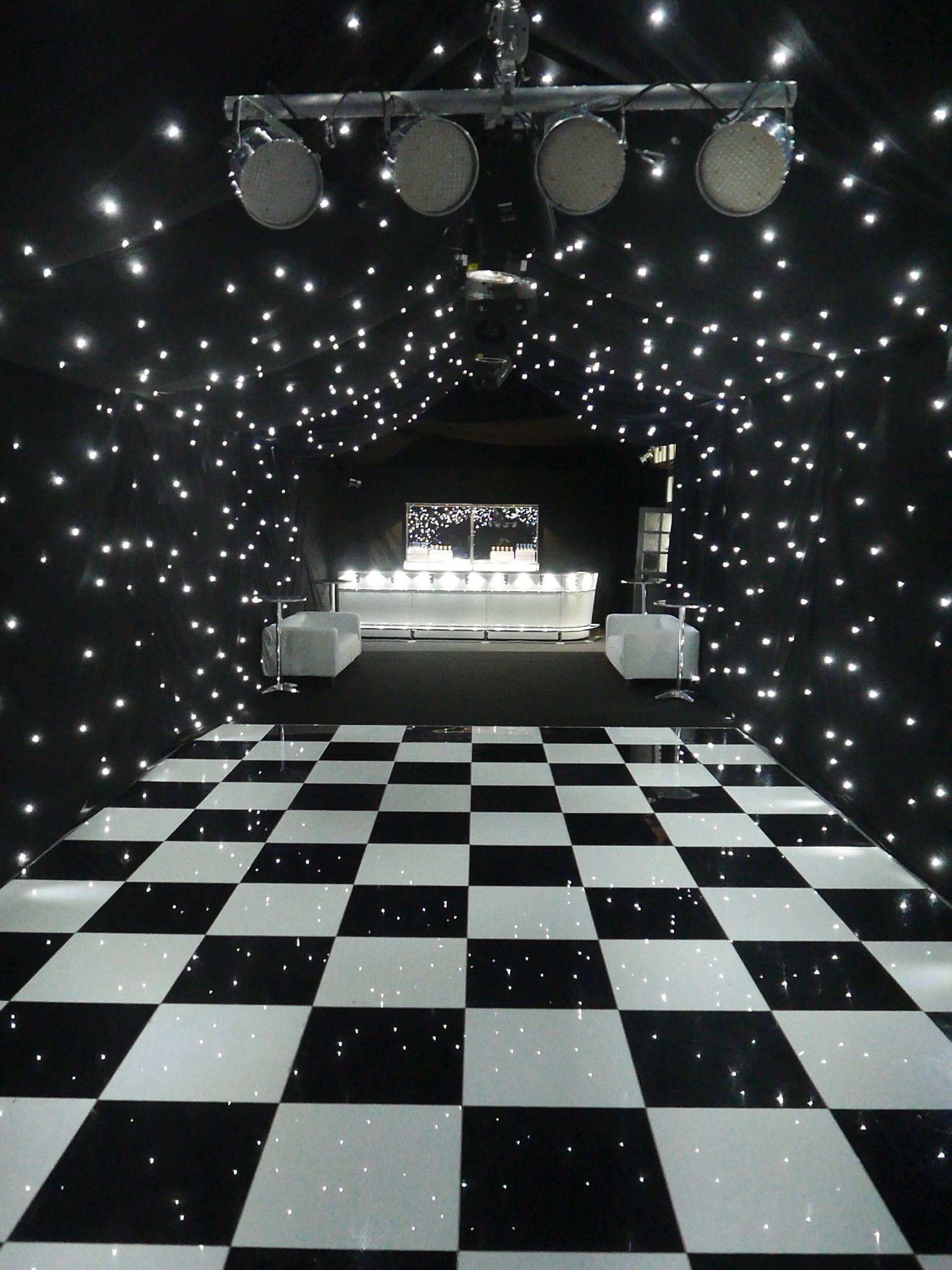 Black starcloth linings black & white dance floor zip bar