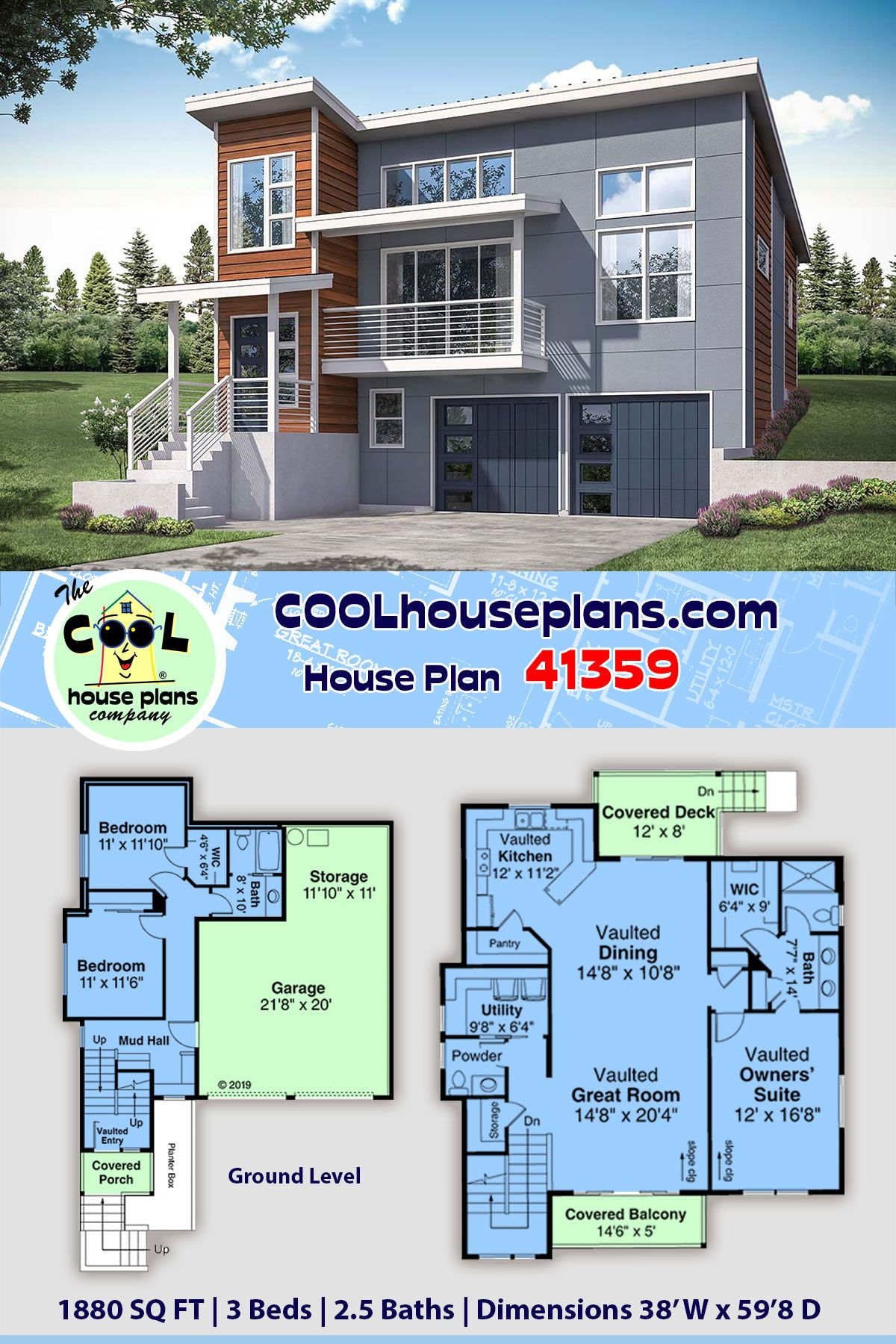 Narrow Lot Style House Plan 41359 With 3 Bed 3 Bath 2 Car Garage In 2020 House Plans Modern House Plans Sims House Plans