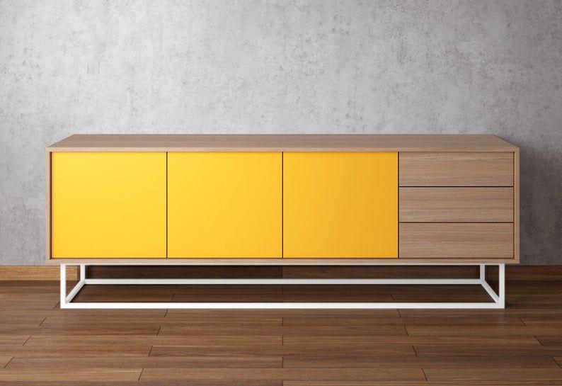 Moderne Anrichte Eiche Natur Gelb In 2020 Stunning Sideboard Modern Sideboard Mid Century Modern Sideboard