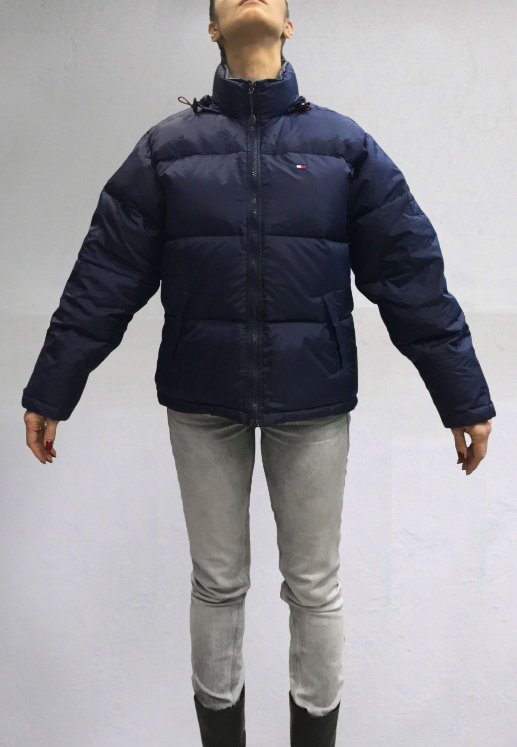 Vintage Tommy Hilfiger Women s Goose Down Puffer Jacket Color Navy Blue  Size S by VapeoVintage on Etsy a3b9b2bd97