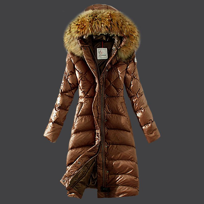 France Moncler Down Coat Women Hooded Windproof Coffee Outlet
