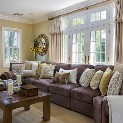Spaces dark grey couch design pictures remodel decor - Grey brown living room decor ideas ...