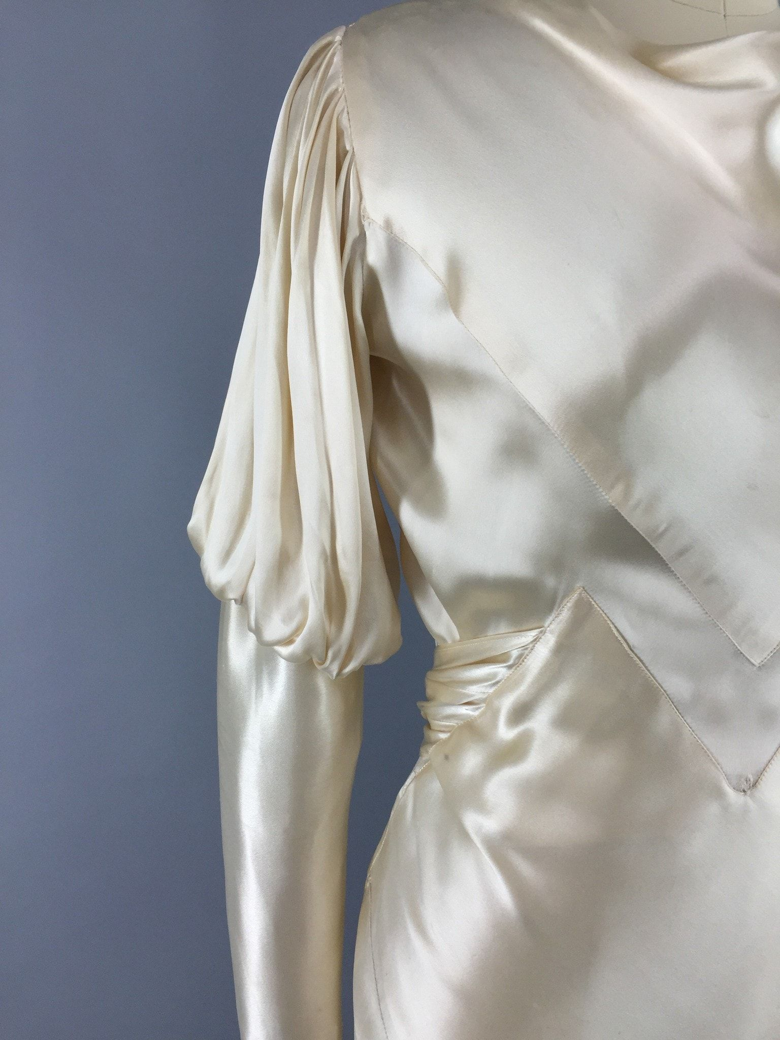 1930s Vintage Bias Cut Ivory Satin Bridal Gown Wedding Dress   1930s ...