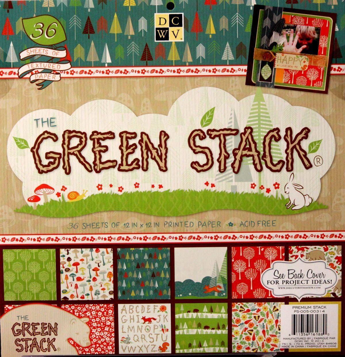 Scrapbook paper cardstock - Dcwv 12 X 12 The Green Stack Specialty Textured Cardstock Scrapbook Paper Pad