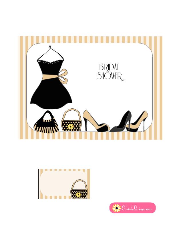 Little Black Dress Bridal Shower Invitation In Beige Color Free