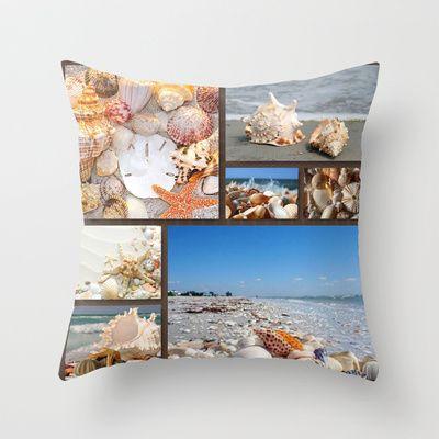 Seashell Treasures From The Sea Throw Pillow $20.00