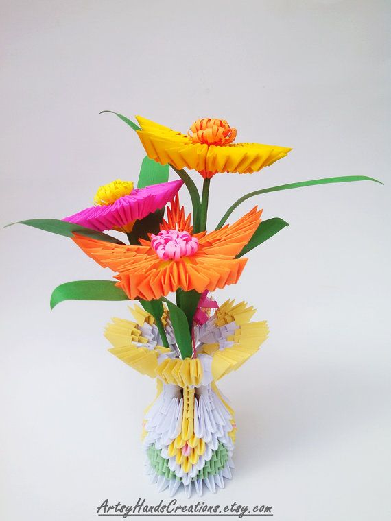 Origami Vase with Origami Flowers  Origami Vase  Origami Flowers  Decorative  item  Handmade gift idea  Ideal gift for the upcoming. 3d Origami Flower Vase  3d Origami Vase with Flowers  3d Origami