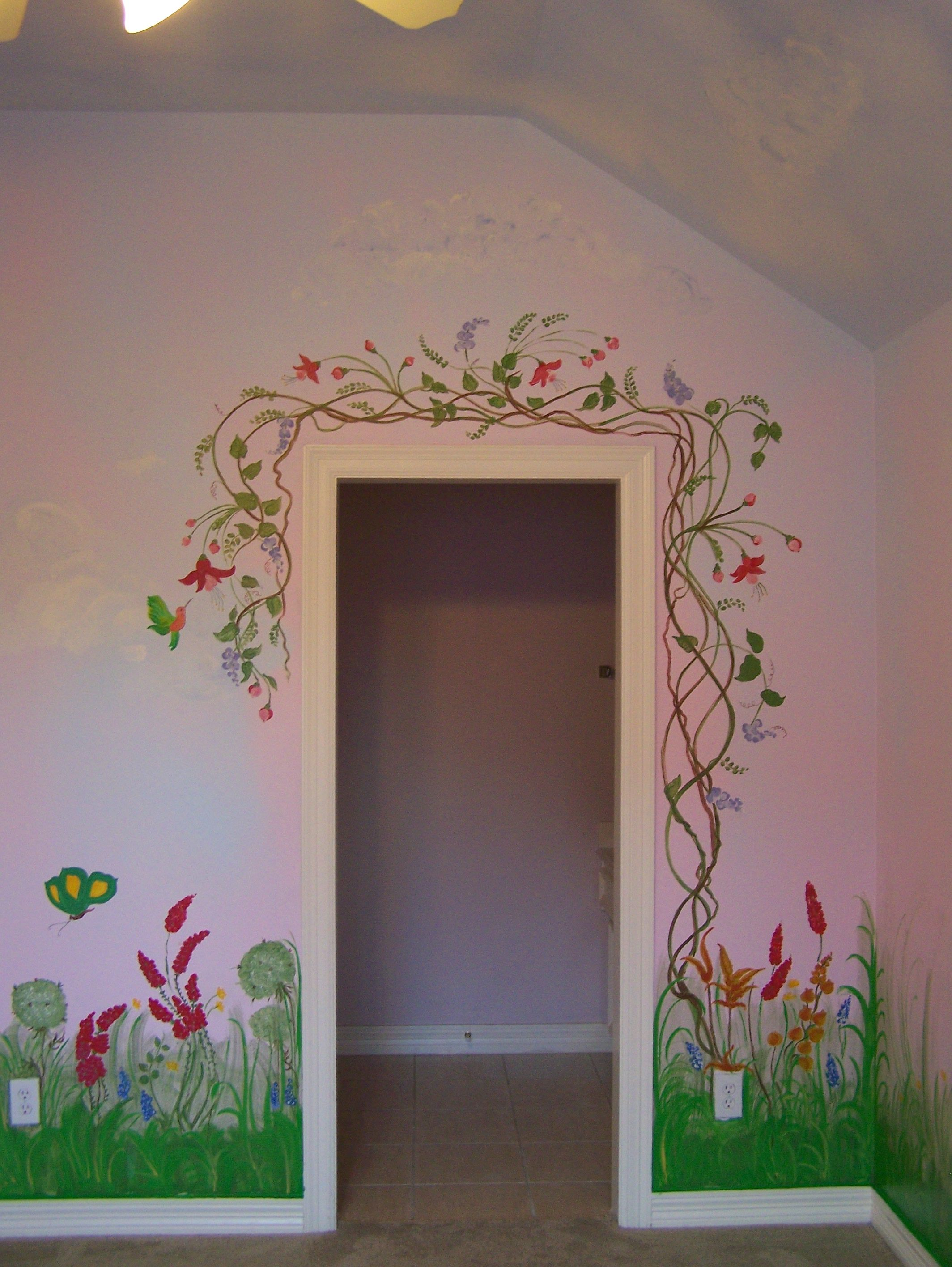 Garden Mural Around The Door Frame Door Murals Kids Wall Murals Garden Mural