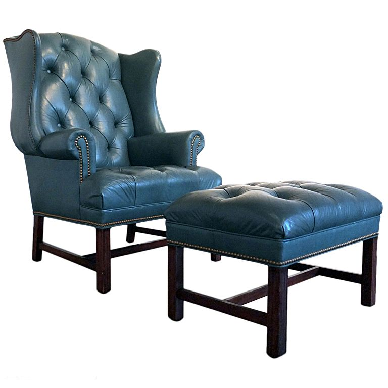 Attractive Tufted Leather Wingback Chair And Ottoman By Hancock U0026 Moore