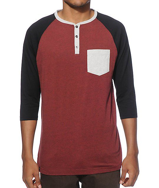 5252fd0f Look sharp in a color blocked new look with a tagless burgundy body with a heather  grey 3 button henley collar and left chest pocket plus contrasting black ...