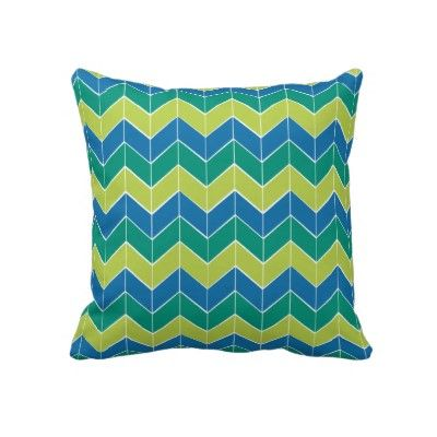 Green and Blue Chevron Pillow