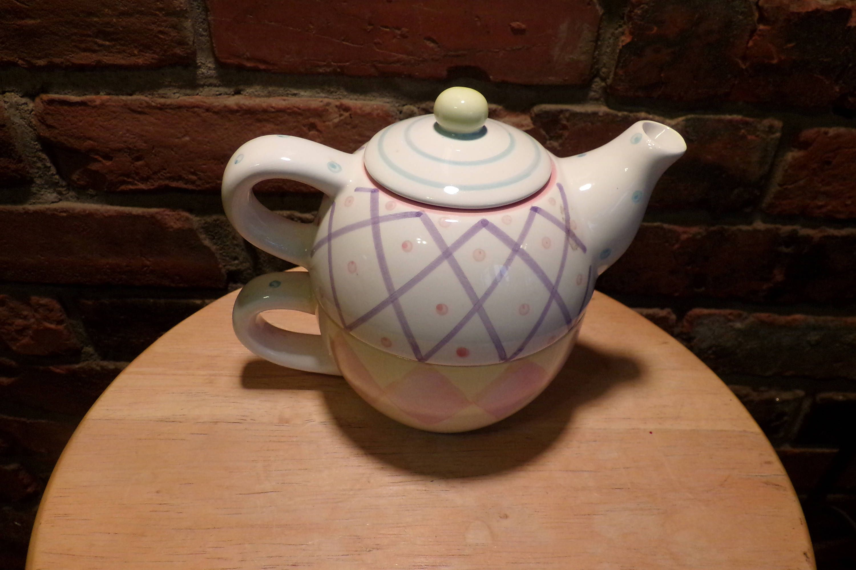 Three piece tea for one, tea for one, pastel teapot, teapot for one, gift for her by Morethebuckles on Etsy