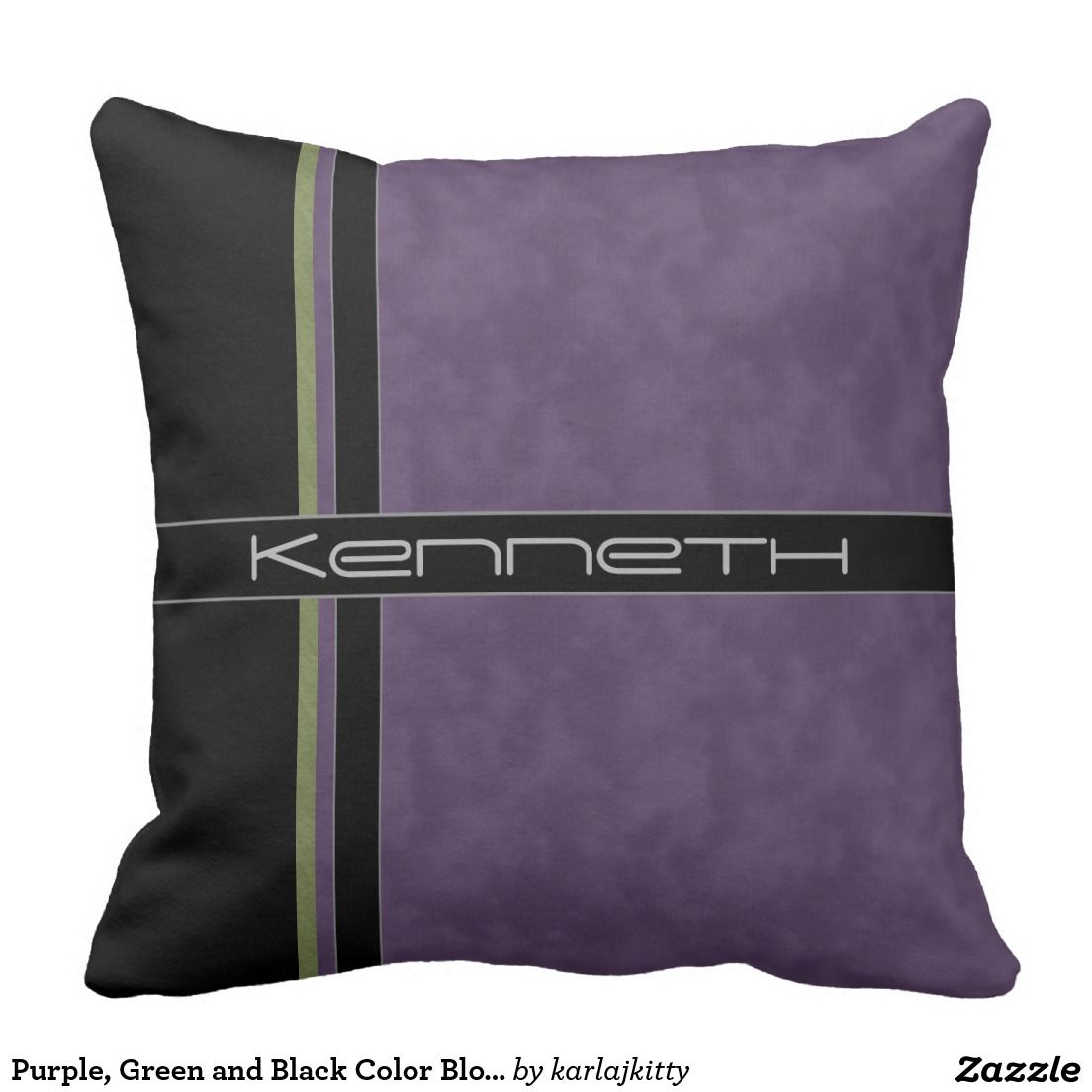 Purple green and black color block pillow zazzle pillow fight