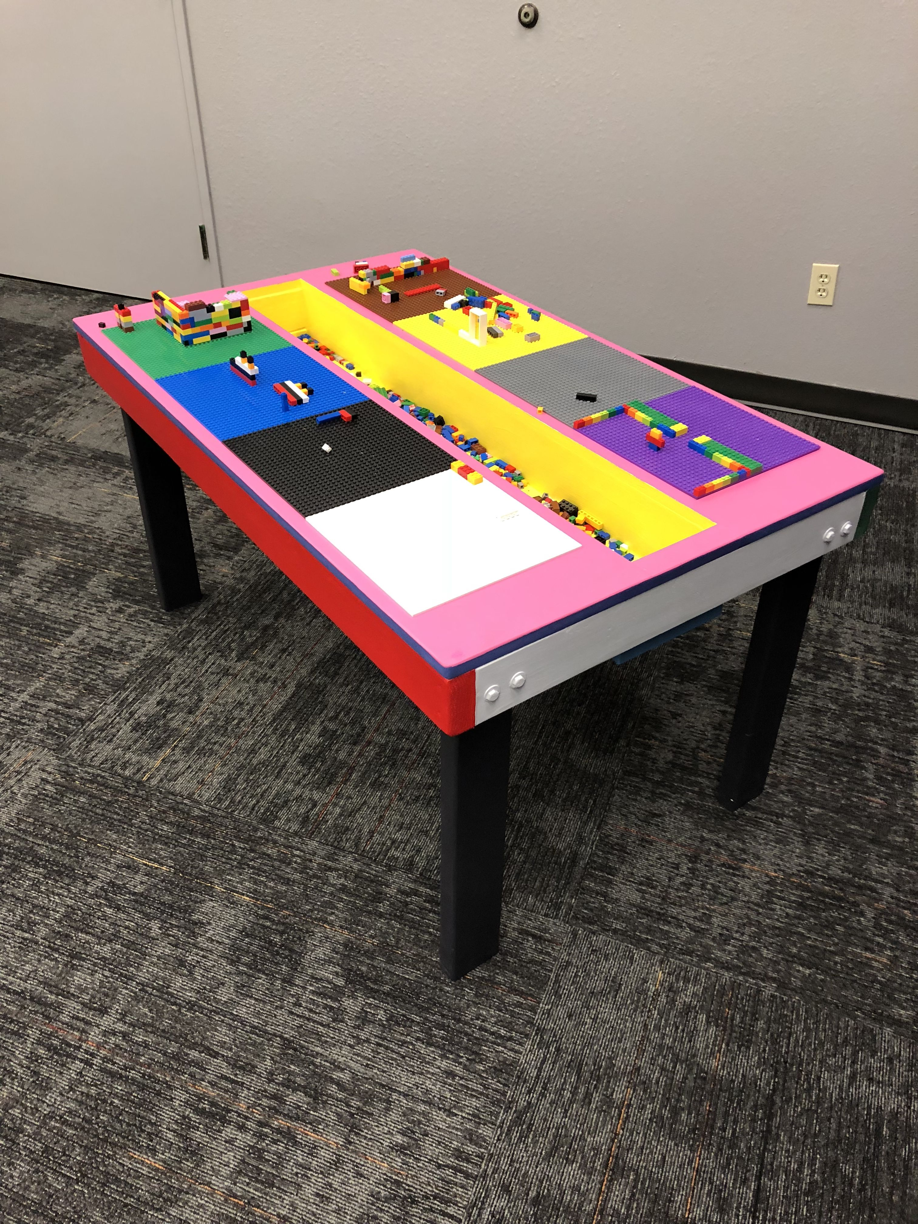Superbe Custom Lego Table Made From MDF And 2x4. 10u201d Lego Base Plates. Built In  Tray. Kids School Chair Height.
