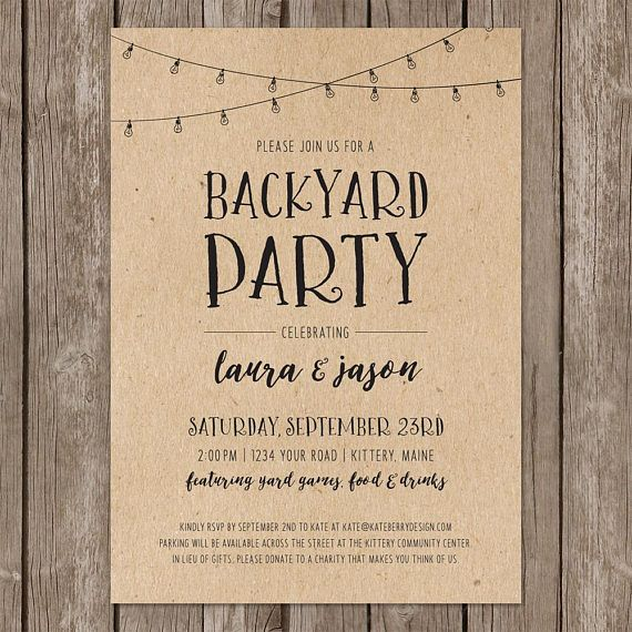 Diy Backyard Wedding Ideas: Backyard Party Rustic Invitation. Casual Wedding Party