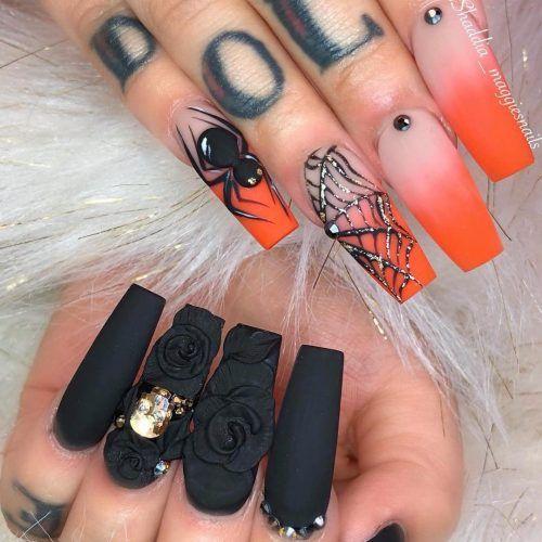 Stunning Ombre Orange Spiderweb Black Press On Nails Holloween Nails Halloween Nail Designs Nail Designs