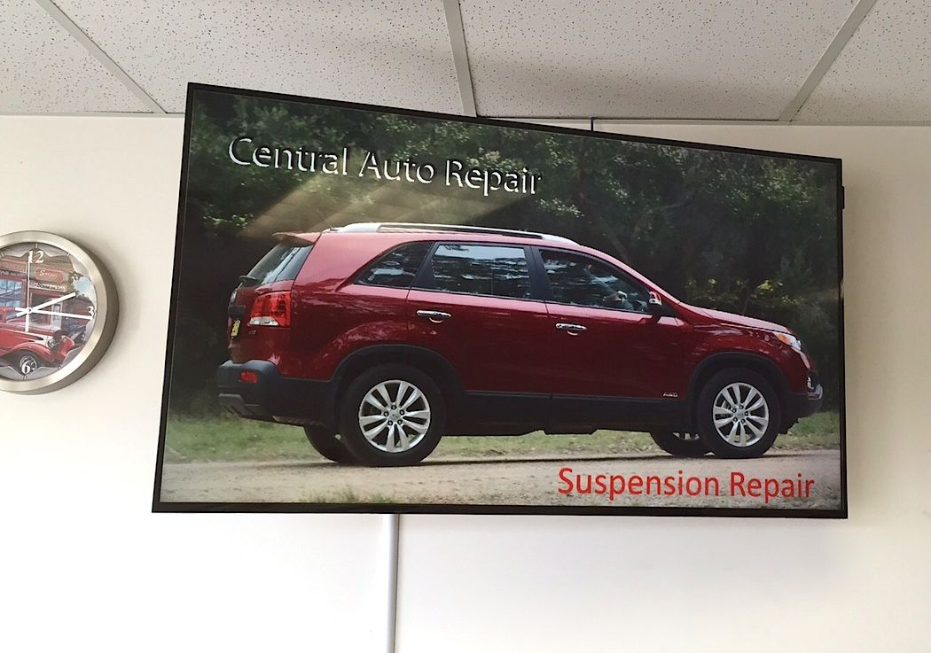 Digital signage is easy to program and make changes to the messages, which lends itself nicely to waiting rooms. This one is at Central Auto Repair in Elk River, MN.