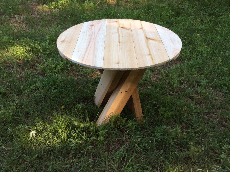 Outdoor Circular Side Table, Cedar, Twisted Legs, Circular Top, Outdoor  Furniture,
