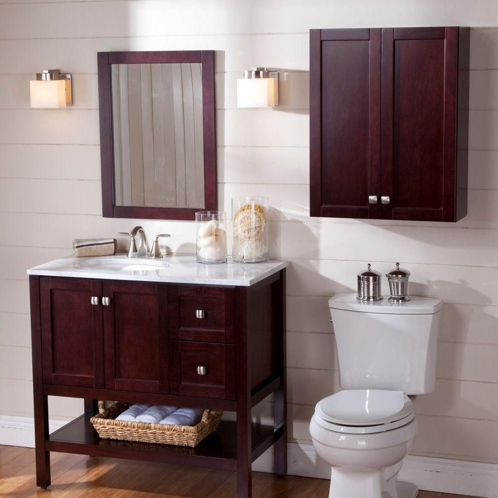 St. Paul Sydney 36 In. Vanity In Dark Cherry With Stone Effects Vanity Top  In Cascade