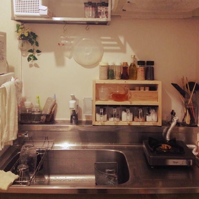 キッチン 調味料棚 調味料収納 耐熱ポット ガラスポット などの