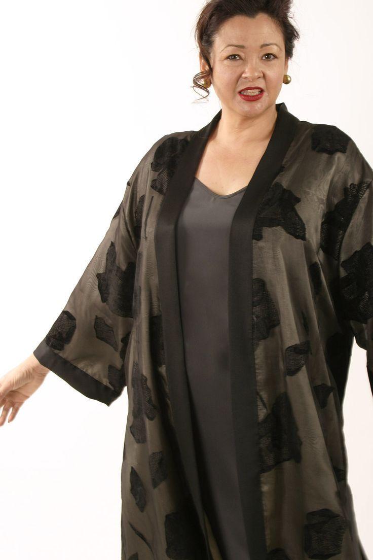 fb018babd12 Kimono Jacket Black Grey Silk Sizes 14-32 in 2019