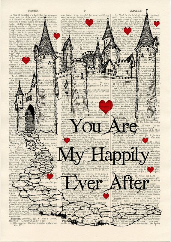 Fairytale Castle You Are My Happily Ever After Quote - vintage book