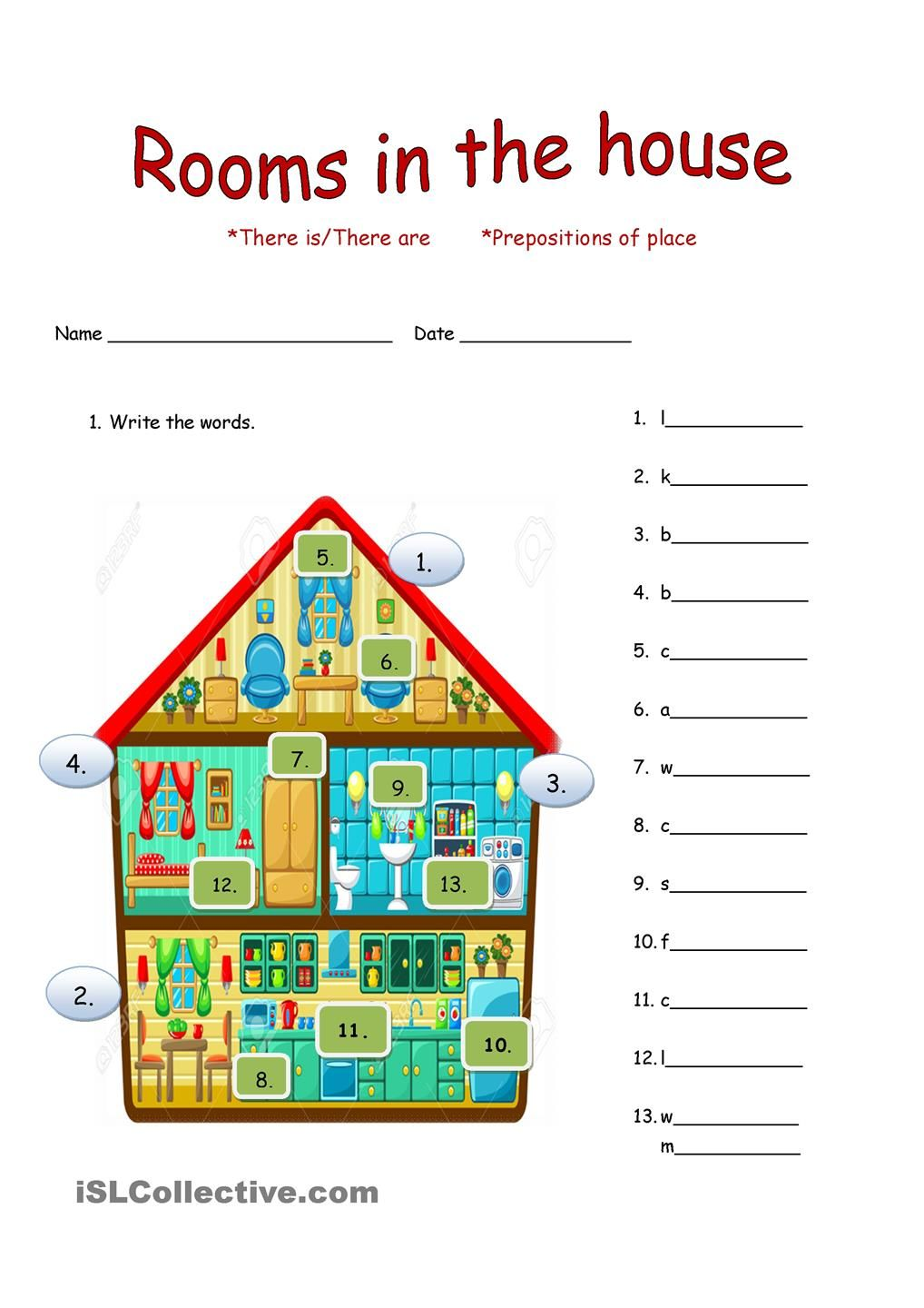 rooms in the house there is there are worksheets englisch schule. Black Bedroom Furniture Sets. Home Design Ideas