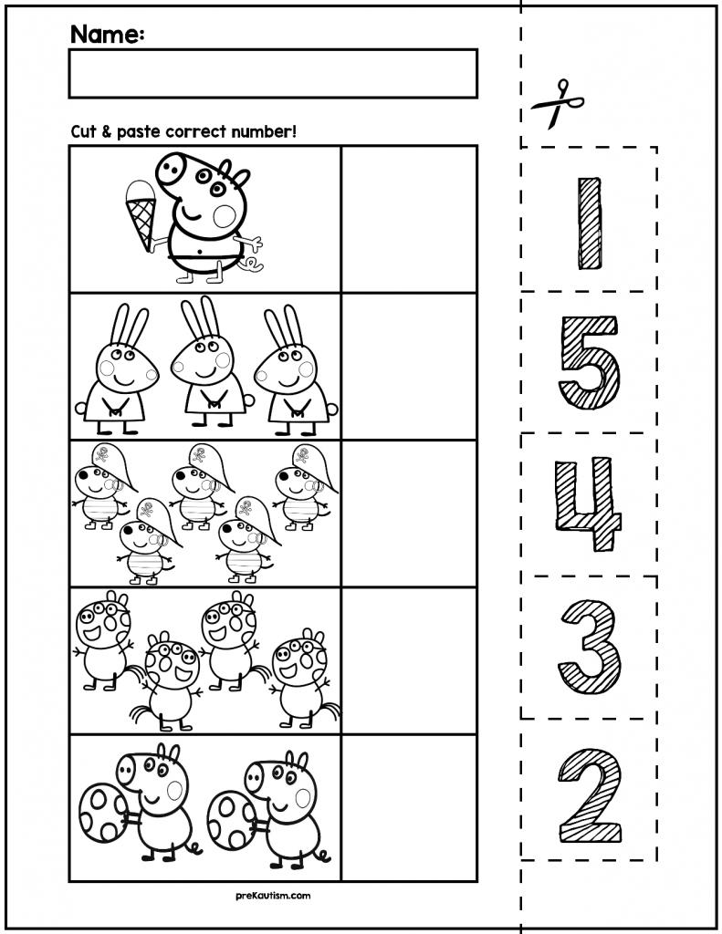 Peppa Pig Number Match | Vorschule, Zahlen und Arbeitsblätter