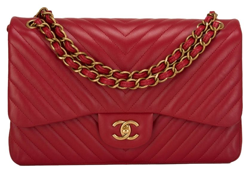 6a9602bcc3f Get one of the hottest styles of the season! The Chanel Dark Red Chevron  Jumbo Classic Double Flap Shoulder Bag is a top 10 member favorite ...