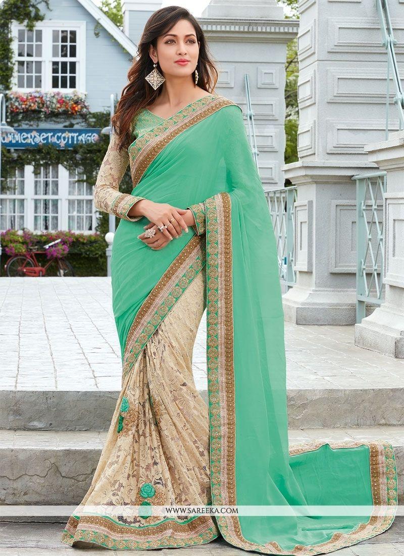 Sea green net designer half n half saree half saree wedding and
